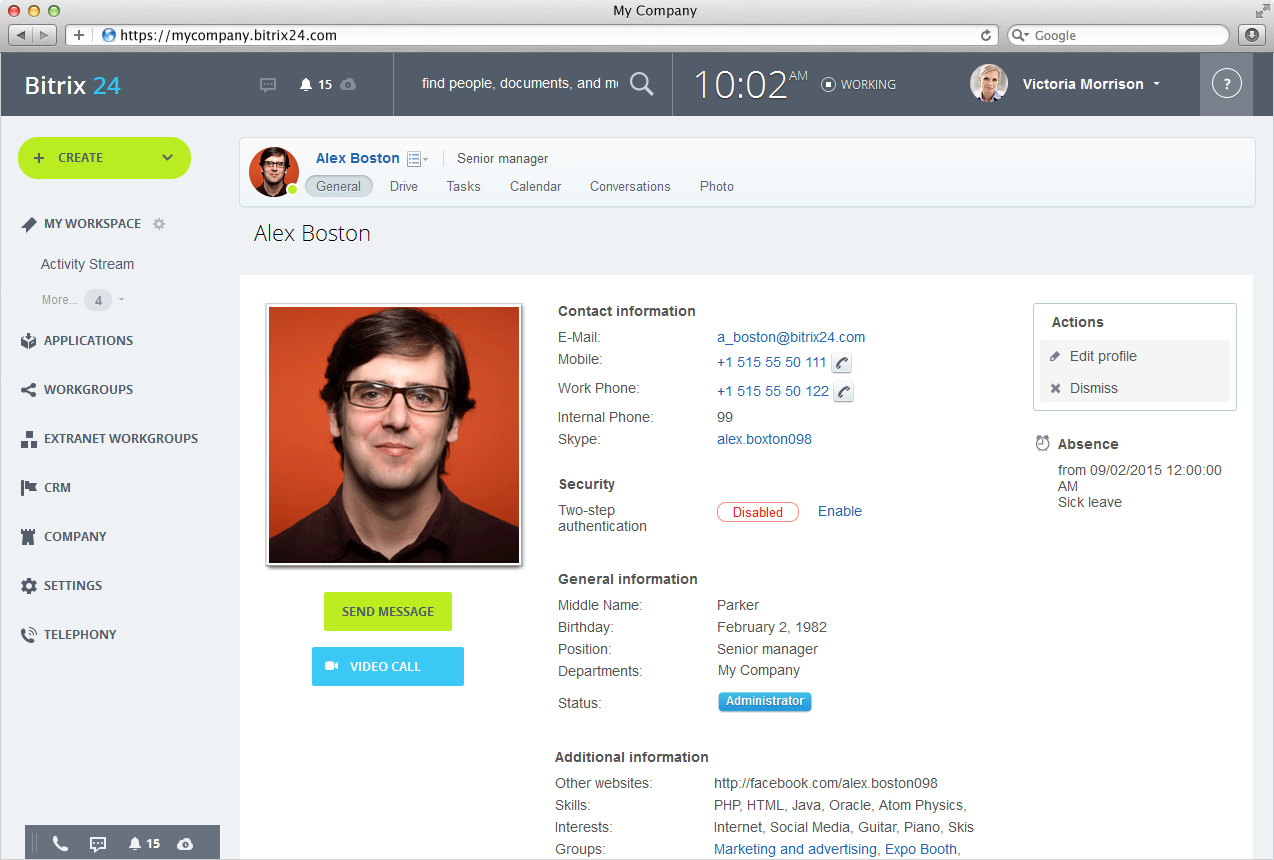 social network profile template - bitrix24 searchable employee directory in bitrix24